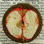 Apples, Appetite, oil on dictionary page, Tina Newlove, Webster&#039;s Dictionary