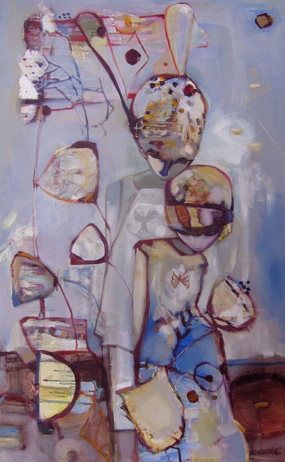 She Had Rabbit Ear Reception, oil on canvas, $2400