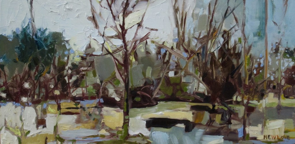 """Sun Tangled in Tree, oil on wood panel, 6 x 12"""", $550"""