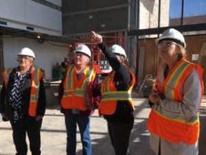 FASM onsite checking out measurements and the progress of the foyer.