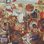 """Garden Walk, oil on wood panel, 2015, 36 x 36"""", $2000"""